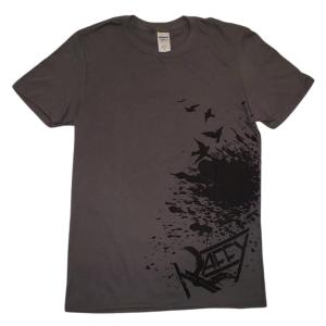 T-Shirt homme Le Faux Est À La Mode gris imprimé noir