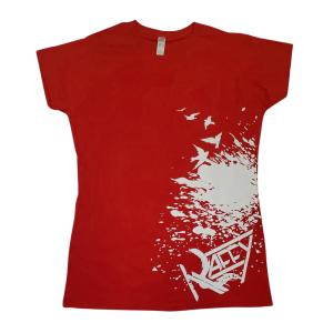 T-Shirt Femme Le Faux Est À La Mode rouge imprimé blanc